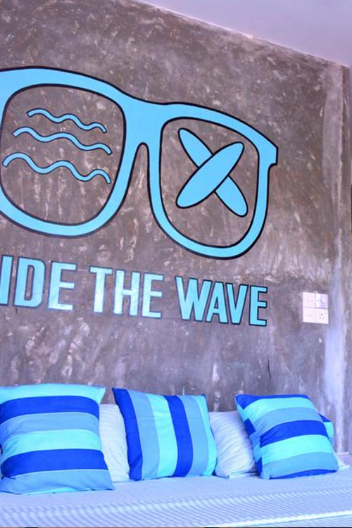 Surfers' rooms at Cheeky Monkey surf camp in Sri Lanka