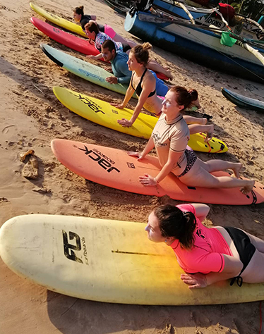 Surf lessons at cheeky monkey surf camp in Sri Lanka