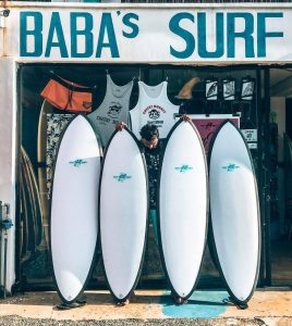 Cheeky Monkey surf boards to let at Baba's shop