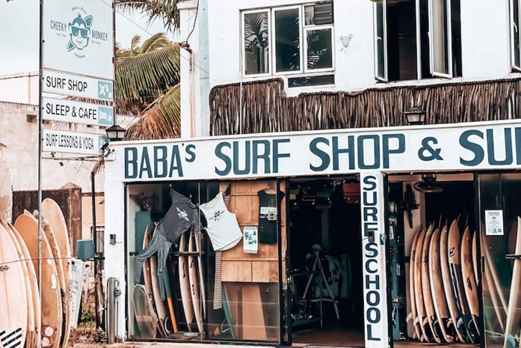 Baba's surf shop near Chheeky Monkey surf camp