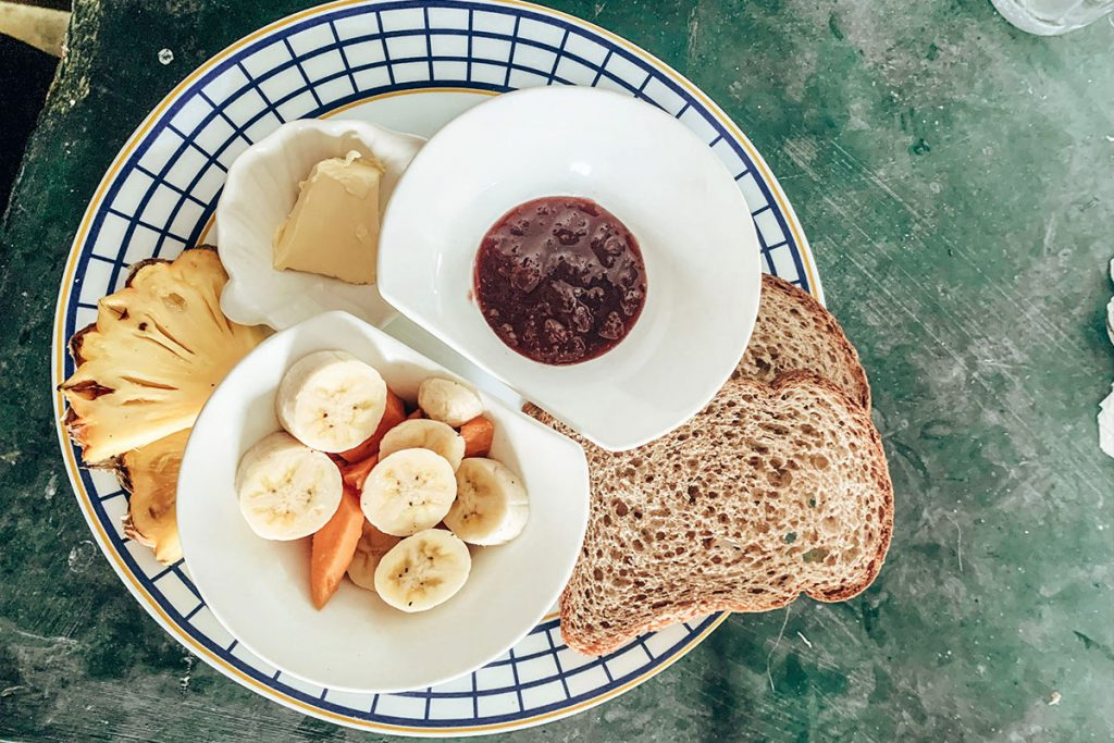 Fruits and breads as the breakfast in Cheeky Monkey surf camp in Sri Lanka
