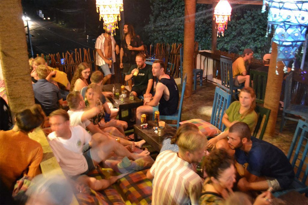 Restaurant filled with guests at Cheeky Monkey surf camp Sri Lanka