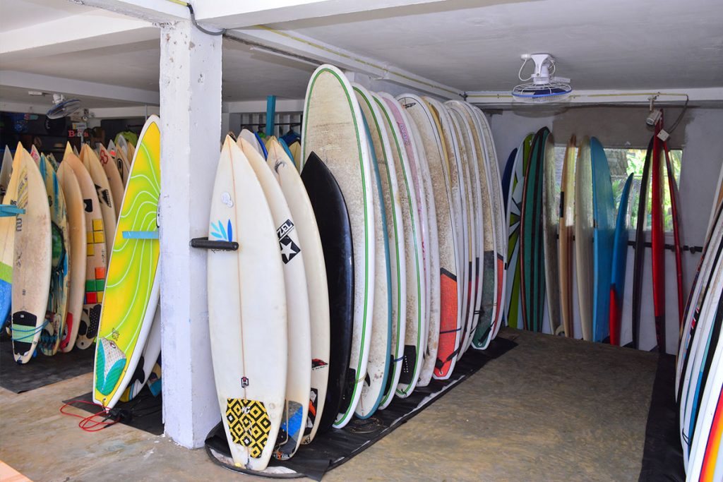 Surf boards to let at baba's surf shop near cheeky monkey surf camp