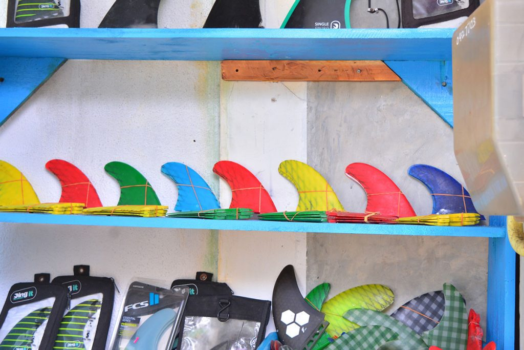 Surf accessories at Baba's surf shop near Cheeky Monkey