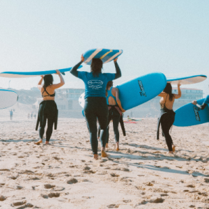 Surfers training in a surf camp