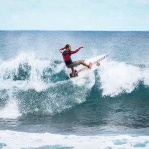 Surfer surfing in a surf camp, Sri Lanka