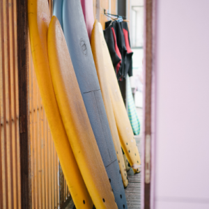 Surfboards stored in a surf camp Sri Lanka
