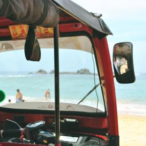A tuk-tuk on the beach